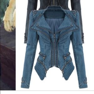 Studded and spiked women's blue jacket